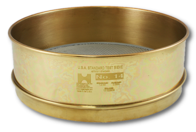 "6994 - 12"" Test Sieve, No. 10 Mesh, Full Height, Brass Frame - Stainless Cloth"