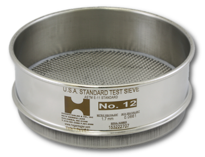 "3852 - 6"" Test Sieve, 3/8"" Mesh, Full Height, Stainless Frame - Stainless Cloth"