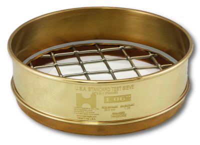 9716 - 200MM Test Sieve, 28000 µm Mesh, Full Height, Brass Frame - Stainless Cloth